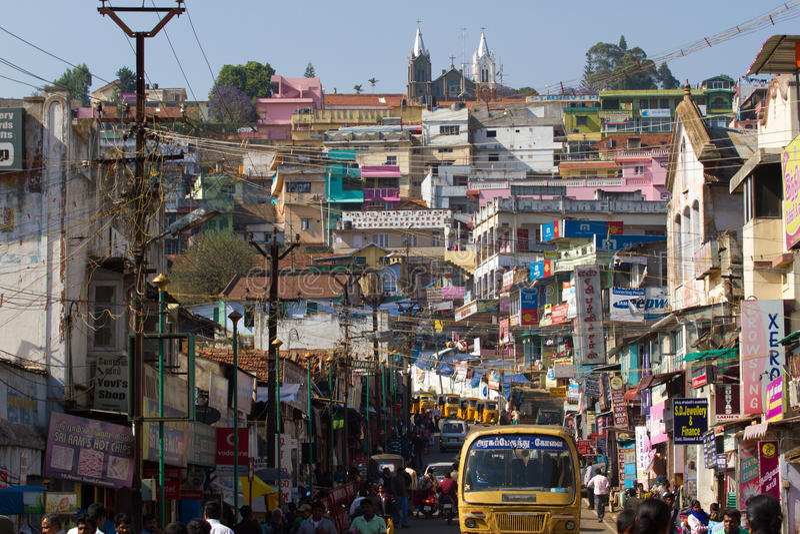 印度城市乌塔卡蒙德, Coonor, Nilgiris,泰米尔纳德邦 库存照片