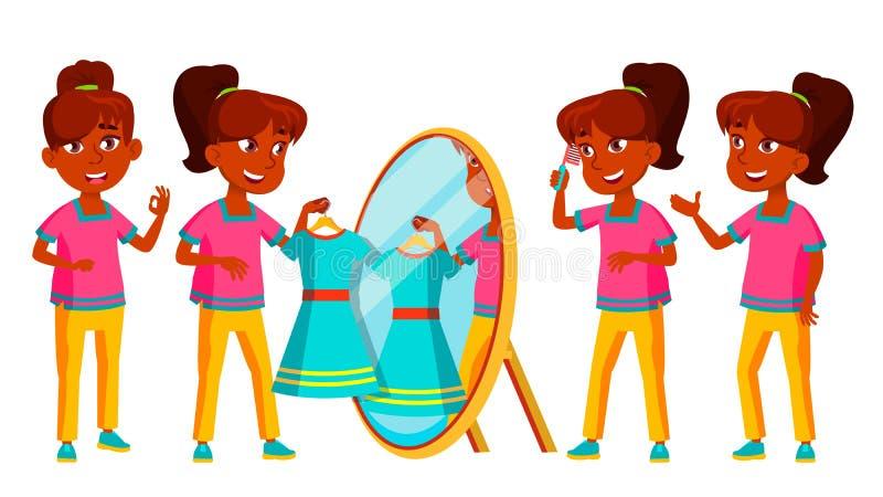 印度女孩集合传染媒介 小学生 青少年 对网,小册子,海报设计 被隔绝的动画片例证 库存例证