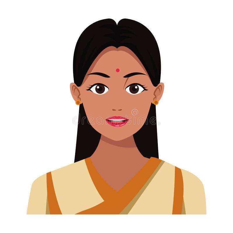 印度女孩面孔具体化动画片 库存例证