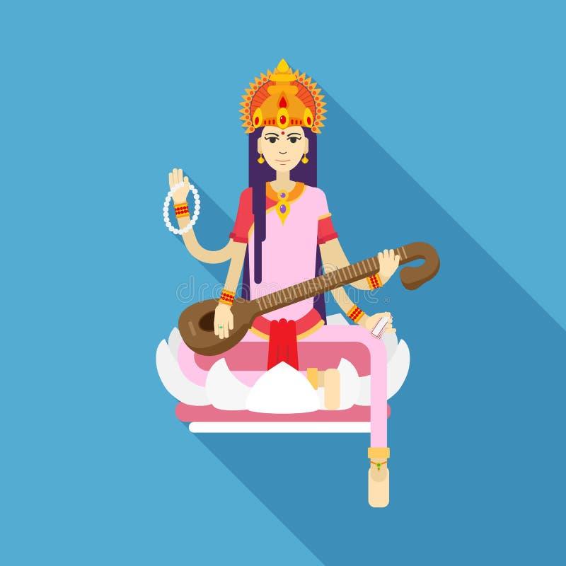 印度女神平的Saraswati 皇族释放例证