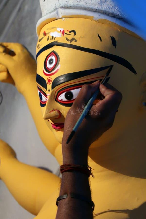 印度女神戴维杜尔加黏土神象  印度女神杜尔加神象在准备期间的在加尔各答 免版税库存照片