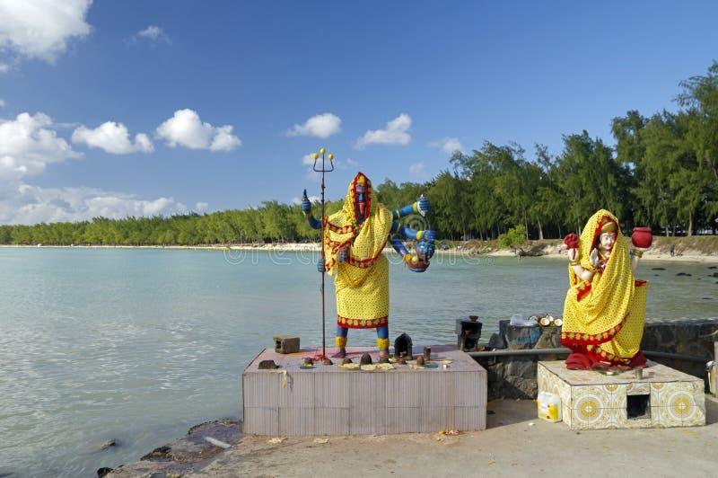 印度女神-小印度寺庙的在露天下,毛里求斯海岛卡利 库存图片