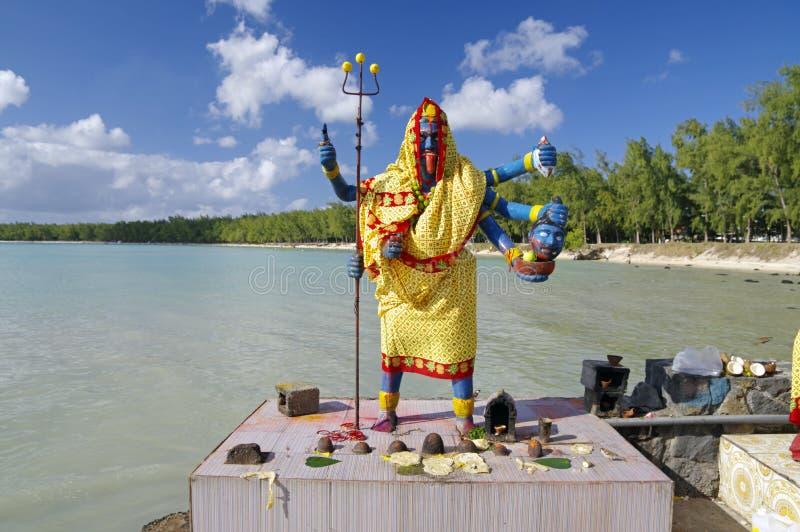 印度女神-小印度寺庙的在露天下,毛里求斯海岛卡利 免版税库存照片