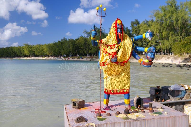 印度女神-小印度寺庙的在露天下,毛里求斯海岛卡利 免版税库存图片