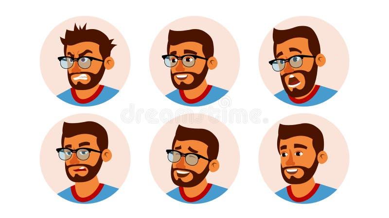 印度字符商人具体化传染媒介 有胡子的人面孔,被设置的情感 创造性的具体化占位符 动画片 向量例证