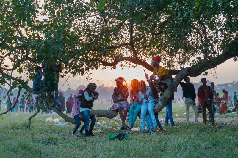 印度孩子在加尔各答马坦公园,印度 免版税库存照片
