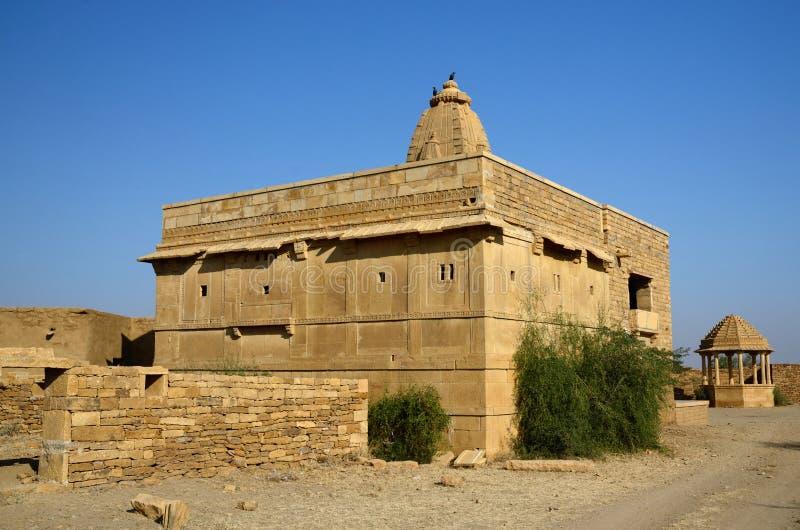 印度寺庙在Kuldhara被放弃的村庄在拉贾斯坦,印度 免版税库存图片