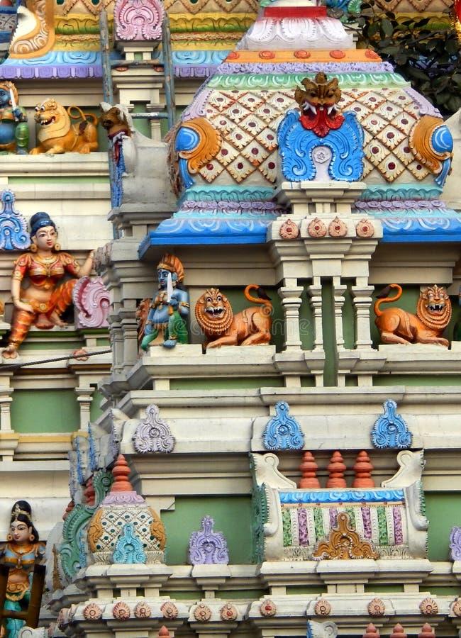 印度寺庙塔或Gopuram建筑细节  库存图片