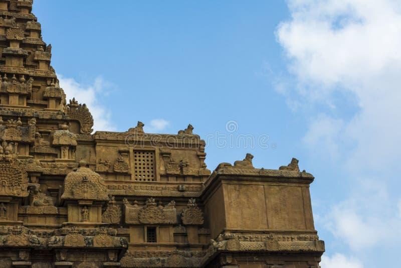 印度寺庙建筑学-坦贾武尔秀丽  免版税库存照片