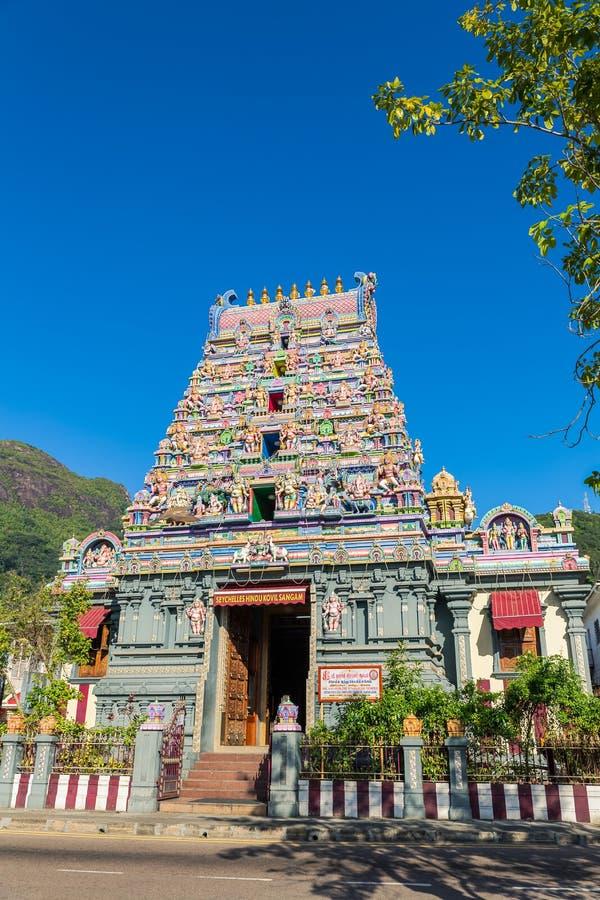 印度寺庙的五颜六色的门面在维多利亚, Mahe,塞舌尔群岛, 库存照片