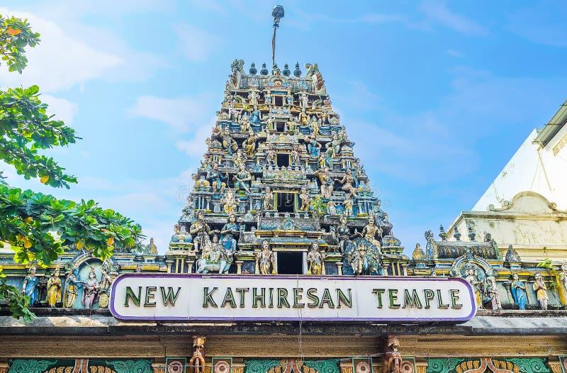 印度寺庙Gopuram塔在科伦坡 图库摄影