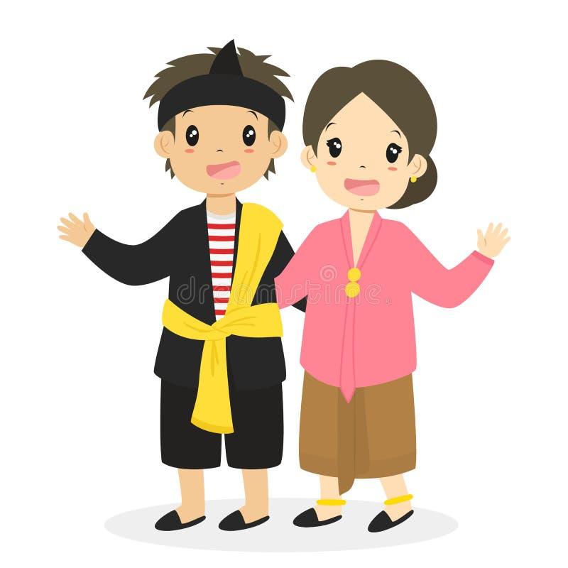 印度尼西亚东部爪哇传统礼服传染媒介 库存例证