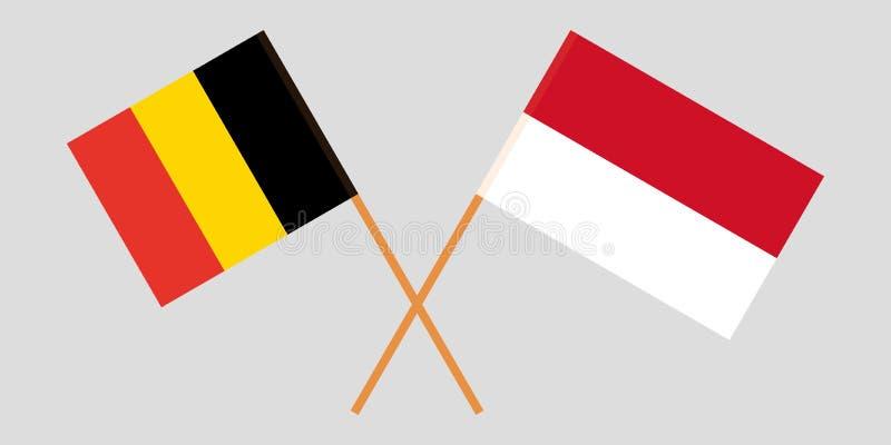 印度尼西亚和比利时 印度尼西亚和比利时旗子 E r ?? 向量例证