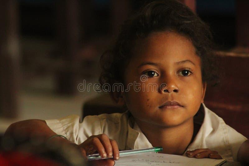 印度尼西亚女小学生 免版税库存照片