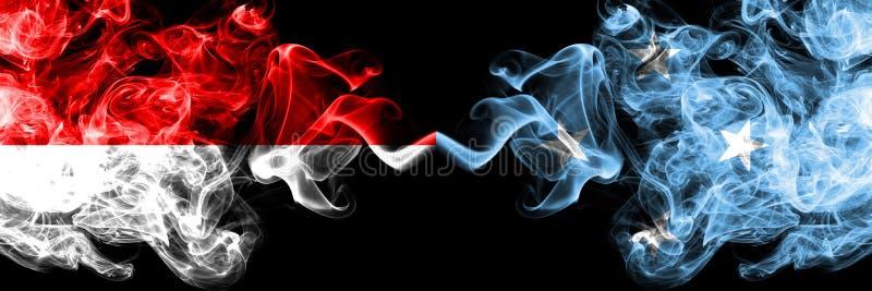 印度尼西亚对密克罗尼西亚,肩并肩被安置的密克罗尼西亚发烟性神秘的旗子 印度尼西亚的厚实的色的柔滑的烟旗子和 库存例证