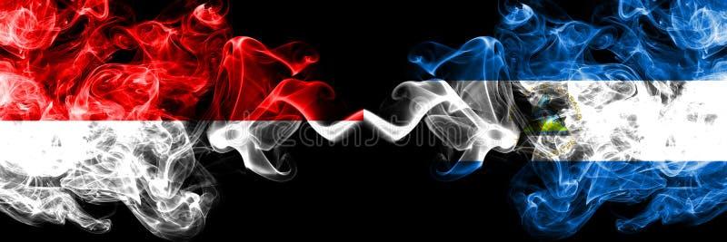 印度尼西亚对尼加拉瓜,肩并肩被安置的尼加拉瓜的发烟性神秘的旗子 印度尼西亚的厚实的色的柔滑的烟旗子和 库存例证