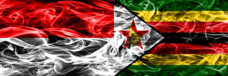印度尼西亚对津巴布韦肩并肩被安置的烟旗子 厚实的col 皇族释放例证