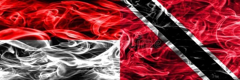 印度尼西亚对特立尼达和多巴哥肩并肩被安置的烟旗子 库存例证