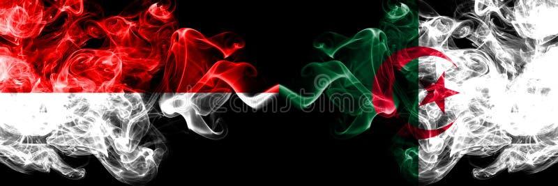 印度尼西亚对阿尔及利亚,肩并肩被安置的阿尔及利亚的发烟性神秘的旗子 印度尼西亚和阿尔及利亚的厚实的色的柔滑的烟旗子, 向量例证