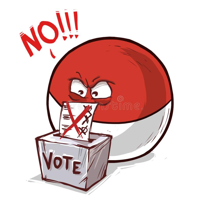 印度尼西亚投反对票国家的球 向量例证