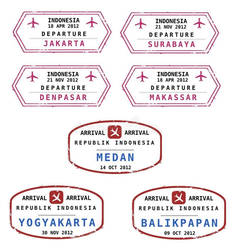 印度尼西亚护照印花税 库存例证