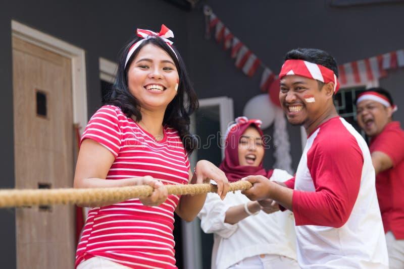 印度尼西亚拔河竞争 图库摄影