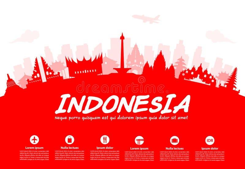 印度尼西亚旅行地标 库存例证