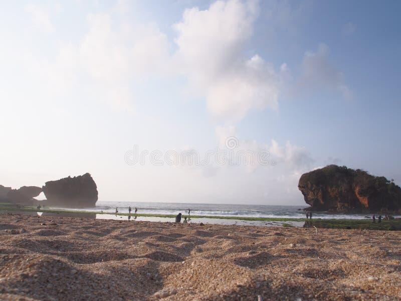印度尼西亚日惹少女谷海滩景 库存照片