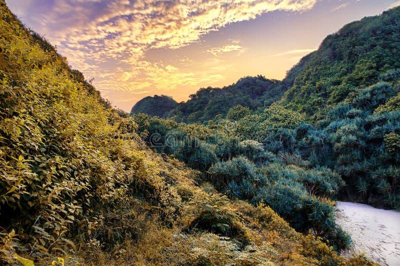 印度尼西亚日惹市Gunung Kidul市Sedahan海滩的美丽黎明景色 免版税库存图片