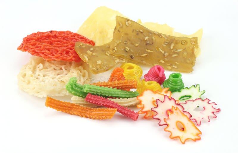 印度尼西亚未加工的珍珠粉薄脆饼干 库存照片