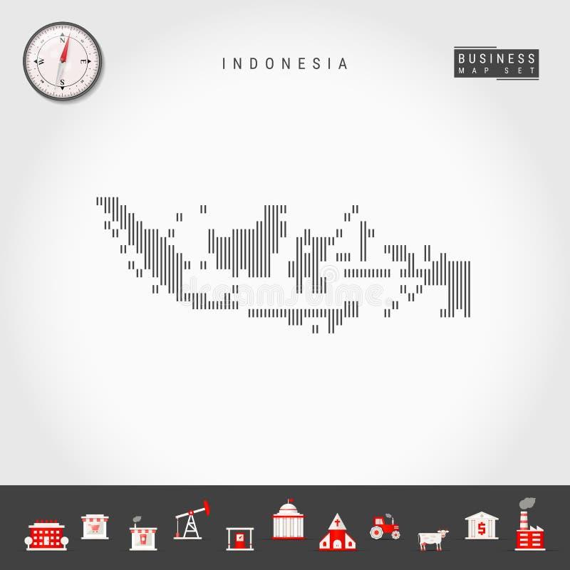 印度尼西亚的传染媒介垂直线地图 印度尼西亚的镶边剪影 现实指南针 r 库存例证