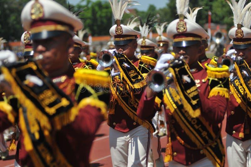 印度尼西亚警察游行乐队 库存照片