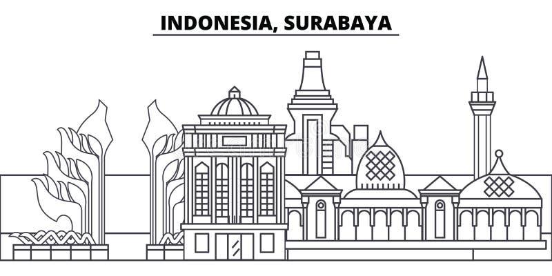 印度尼西亚,苏拉巴亚线地平线传染媒介例证 与著名地标的印度尼西亚,苏拉巴亚线性都市风景,城市 向量例证
