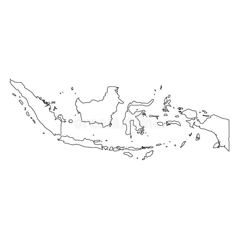 印度尼西亚-国家区域坚实黑概述边界地图  简单的平的传染媒介例证 库存例证