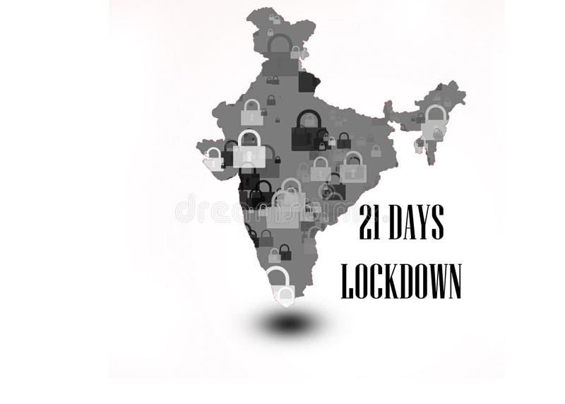 印度总理下令,在21天内关禁 免版税库存图片