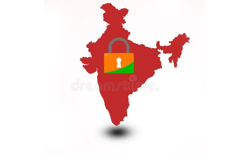 印度总理下令,在21天内关禁 向量例证