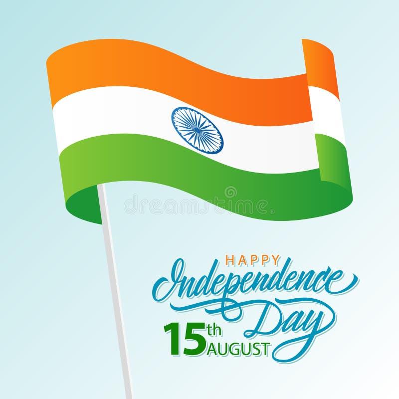 印度愉快的美国独立日,与挥动印地安国旗和手字法文本的威严的15贺卡设计 向量例证