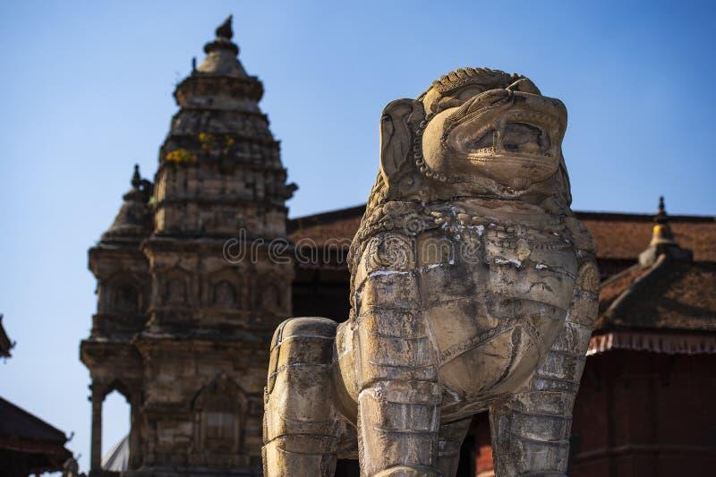 印度教神话生物,Bhakyapur,尼泊尔雕象  免版税库存图片