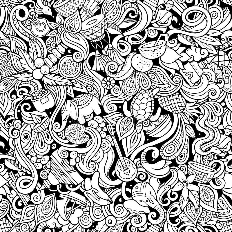 印度文化手拉的乱画无缝的样式 印第安背景 向量例证