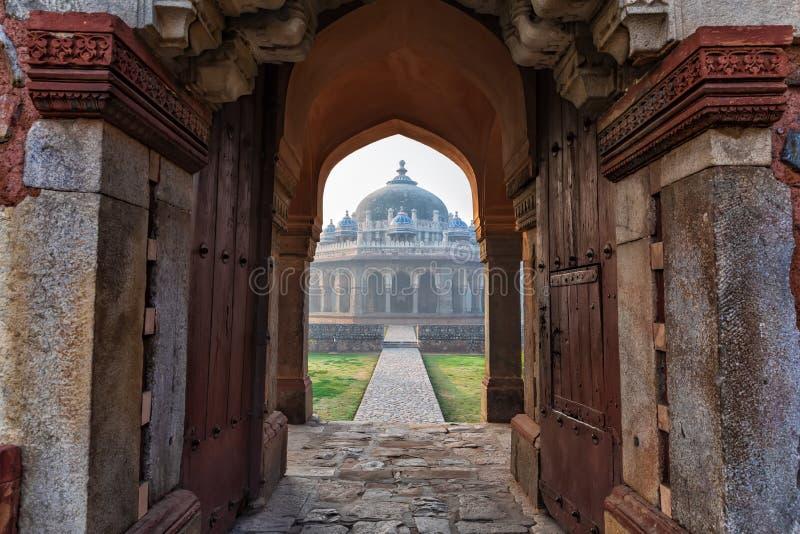 印度新德里海玛云墓门 库存图片