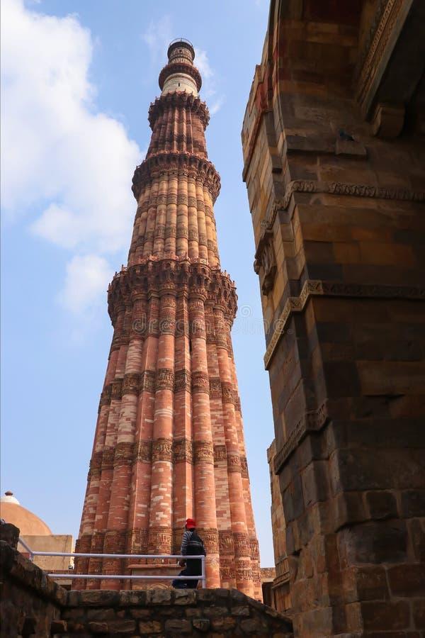 印度新德里Qutub Minar塔 库存照片