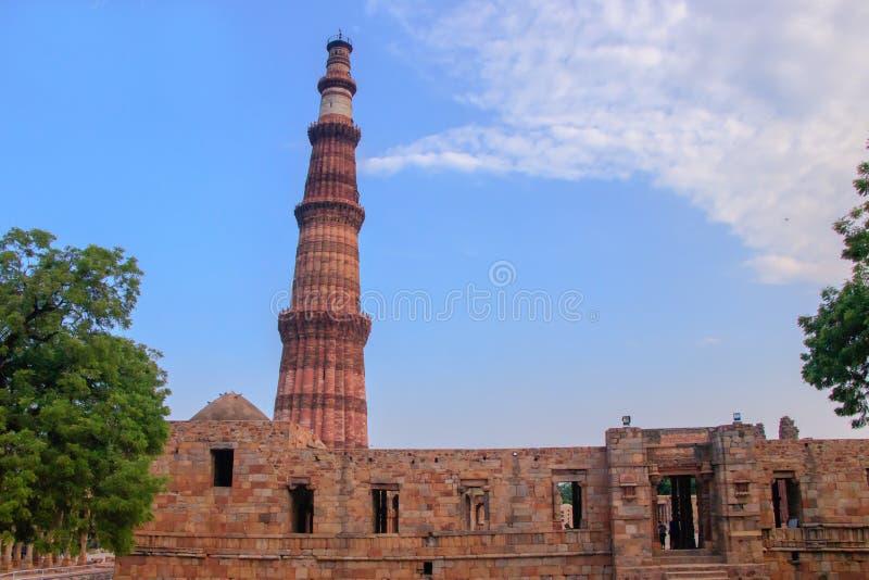 印度新德里Qutub Minar塔 免版税库存照片