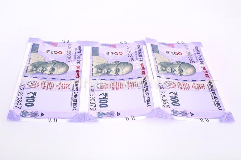 印度新的货币笔记一百卢比 库存照片