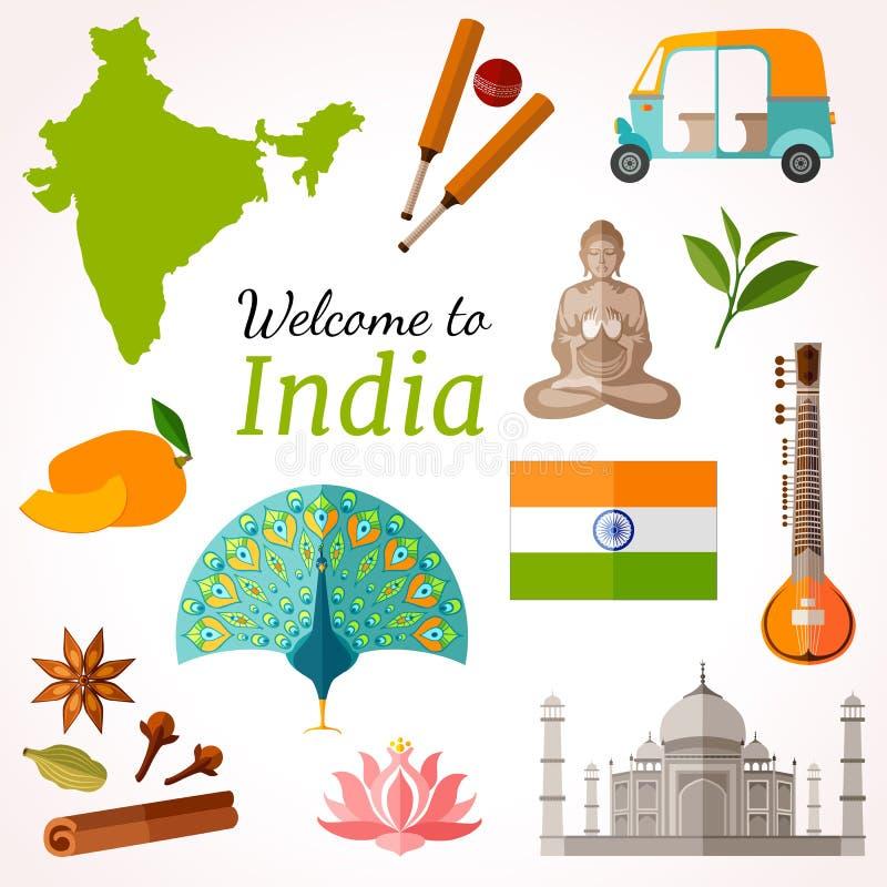印度旅行横幅 传染媒介平的样式飞行物设计 库存例证