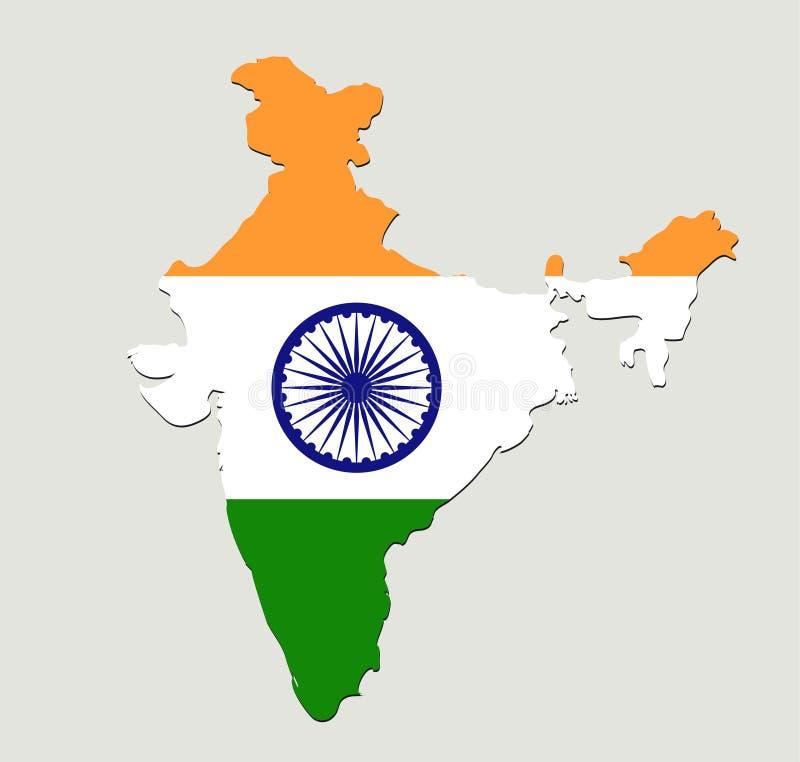 印度旗子地图象 概念国家标志,例证设计,传染媒介图象 库存例证