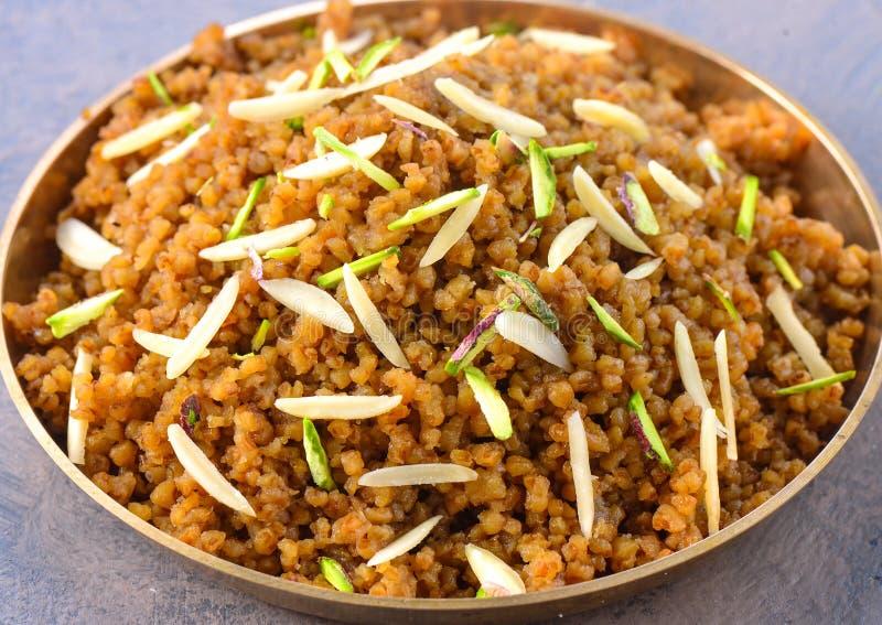 印度早餐-甜达莉亚 免版税库存照片