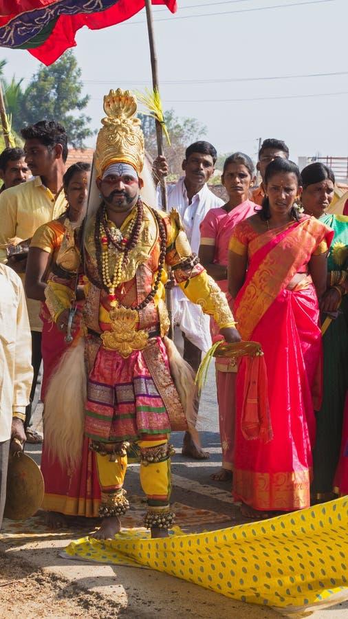 印度村庄节日在卡纳塔克邦 库存照片