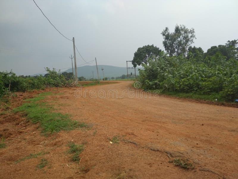 印度村庄路好看 库存照片