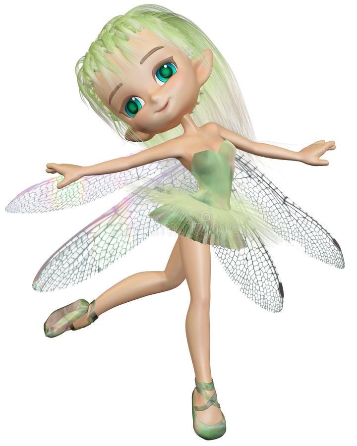 印度桃花心木蜻蜓芭蕾舞女演员神仙-绿色 库存例证