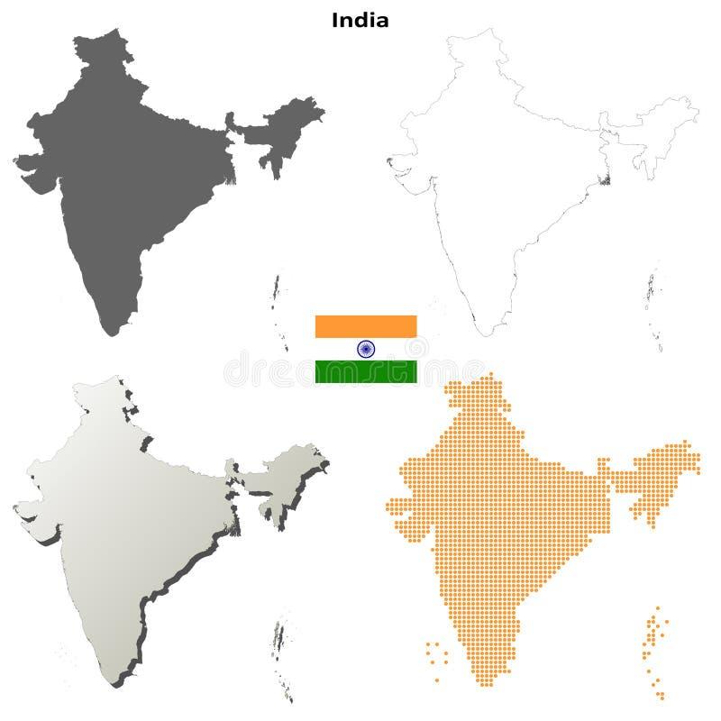 印度概述地图集合 皇族释放例证